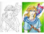 New Link Sketch [lineart + pastel hue] by LadyJuxtaposition