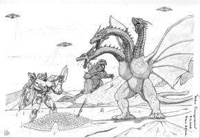 Striker vs. Ghidorah by thxjack