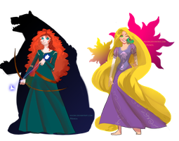 Merida and Rapunzel by Kiuow