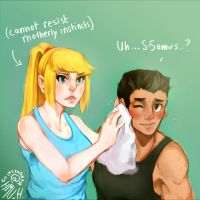 samus and little mac by shmu-h