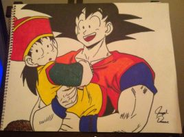 Goku and Baby Gohan by: Joseph Drane by DraneAnimation1