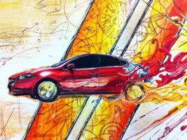 Darting through reality - Detail of car by apra-art