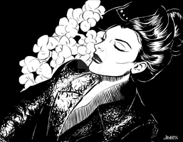 Lady with Orchids by InkWorthy