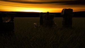 Fantasy Sunset Landscape by Crumpety