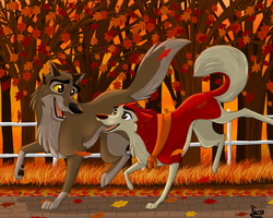 Jenna and Balto An Autumn Run by Elana-Louise