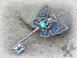 Blue Butterfly Key Necklace by ArtByStarlaMoore