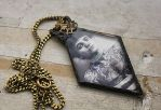 Finished Glass Victorian Tattooed Lady Necklace by asunder