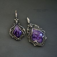 pendants with charoite by KL-WireDream