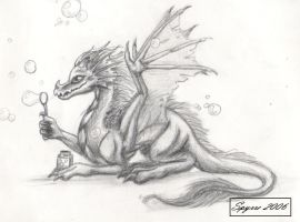 Baby dragon with bubbles by Spyrre