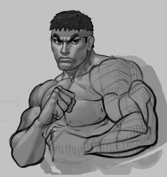 Scrapped Ryu Illustration by gammon