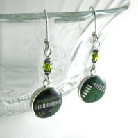 Domed Green Circuit Board and Crystal Earrings by Techcycle