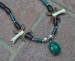 Egyptian Scarab and Wolf Knuckle Bones Necklace by MorRokko