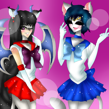 Sailor Mars and Sailor Mercury :COLLAB: by Laura-chan12