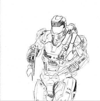 My Past Halo Reach Spartan Sketch by RBIII-Ricster