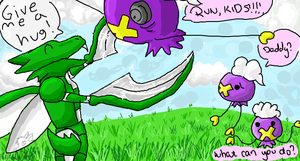 Scyther and Drifloon by racingwolf