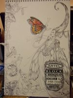 The Merchant of Butterflies WIP traditional by driany