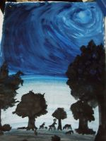 Night forest painting by Niv-Ryo