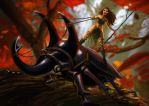 Horned Beetle and The Rider by Nequarilj