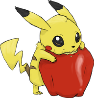 Nom that Apple, Pikachu! -coloured- by Typhloser