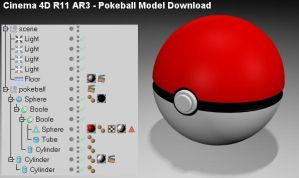 Pokeball Model Download - C4D by 100SeedlessPenguins