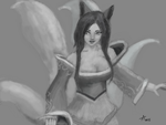 Muro Drawing - Ahri Fan Art (League of Legends) by bolsterstone