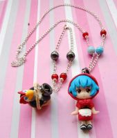 Evangelion handmade necklace and bracelet set by SimonaZ