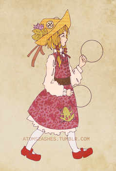 Touhous in Semi-Fancy Dresses 2 - Suwako by atoms2ashes