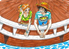 one piece, luffy x nami by heivais