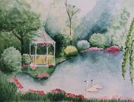 White Gazebo and the Swans by DeingeL