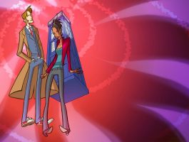 Tenth Doctor and Martha by martinacecilia