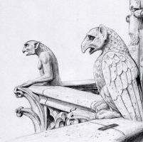 Gargoyles of Notre Dame by dashinvaine