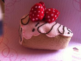 Strawberry Covered Cake Slice by KatGore