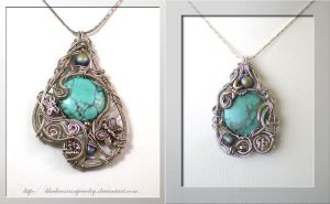 Two Turquise Pendants by blackcurrantjewelry