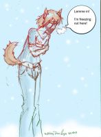 A dog in the cold by 329
