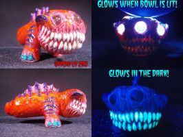 Demon Dog Conveted Hand Blown Glass Pipe by Undead-Art
