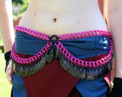 Pink Feather Fringe Belt by Utopia-Armoury