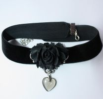 Black rose chocker by Pinkabsinthe