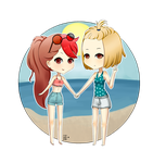 .Suzette and Alice on the beach~. by RenLotus0