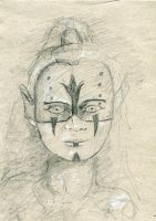 sketch tribal person by Plysse