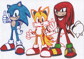 Sharpie'd Sonic,Tails and Knux by Tails19950