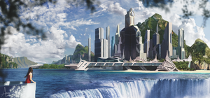 Waterfall City Matte Painting by aretoon