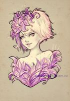 Violet flowers by sky-illuminated
