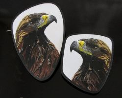 Golden Eagle cane slice brooches by OriginalBunny