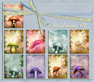 Backgrounds Mushrooms 01 by flaviacabral