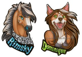 Rimsky and Dominique badges by Shadow-Wolf