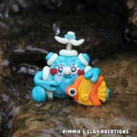 Polymer Clay Robot  I Love Fishes Figurine by KIMMIESCLAYKREATIONS