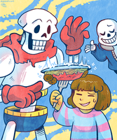 Papyrus, Sans, and Frozen Spaghetti by raizy