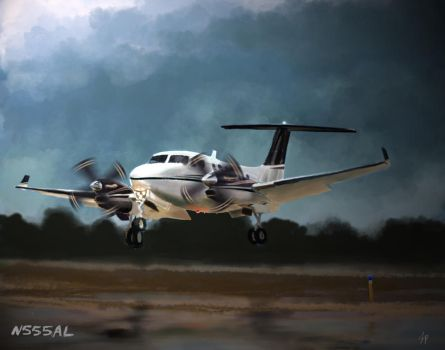 Commission:  N555AL Beechcraft King Air Plane by tare-musume