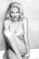 Scarlett Johansson Pencil Drawing by theGaffney