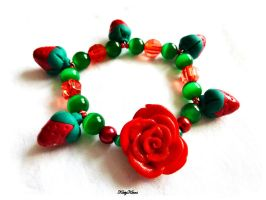 Rose and Strawberry Bracelet by Cateaclysmic